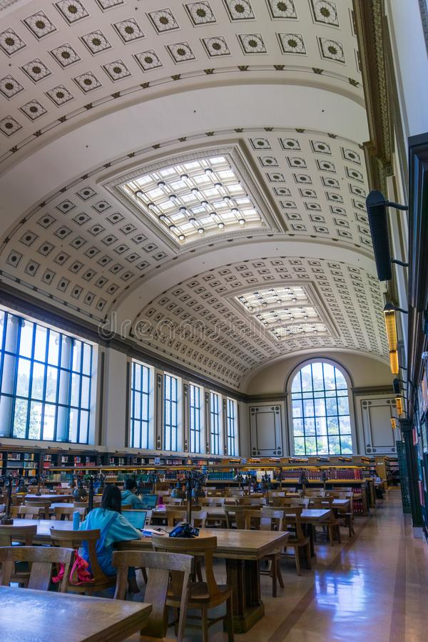 July 13, 2019 Berkeley / CA / USA - The reading room of Doe Memorial Library in the University of California, Berkeley campus royalty free stock images
