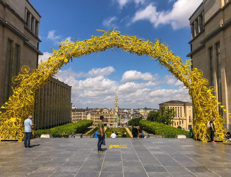 July 2019 - Brussels, Belgium: Arch on the Mont des Arts made of yellow bicycles for the start of the 2019 Tour de France stock photography