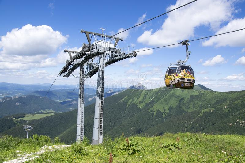 Traveling in mountains, Slovakia cableway royalty free stock image