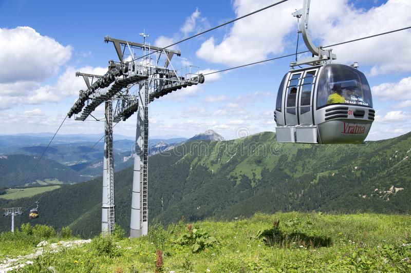 Traveling in mountains, Slovakia cableway stock image