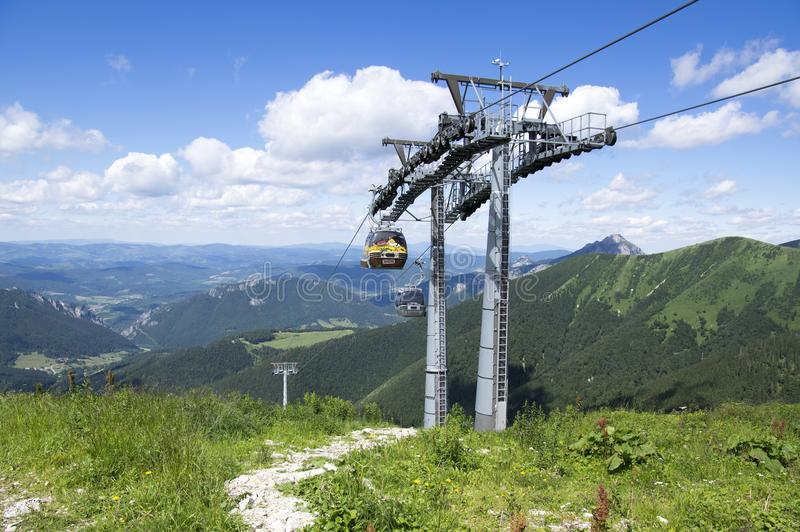 Traveling in mountains, Slovakia cableway royalty free stock photography