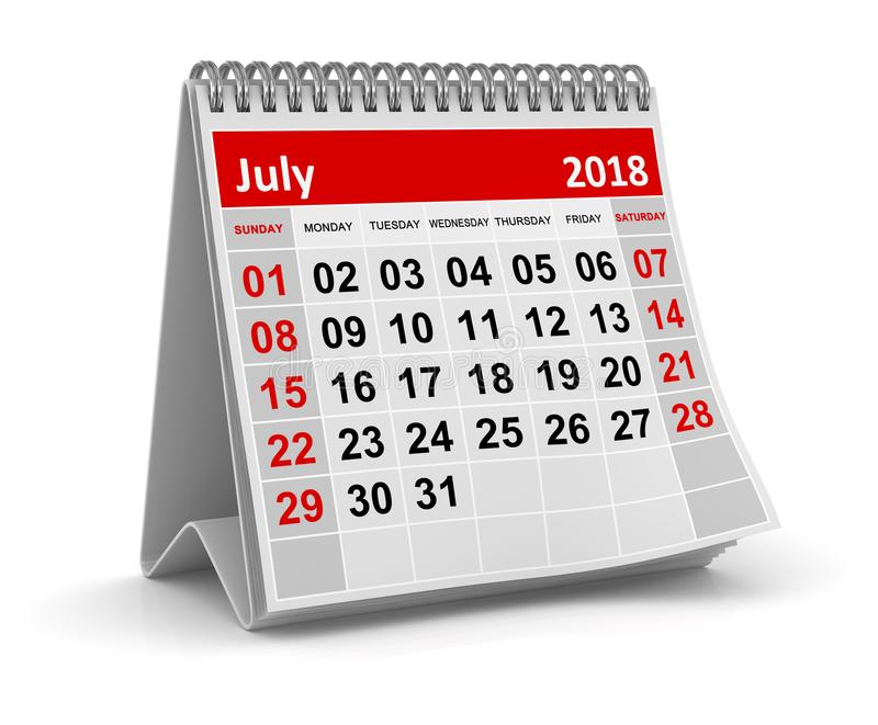 July 2018 - Calendar. July 2018 , This is a 3d rendered computer generated image. Isolated on white vector illustration