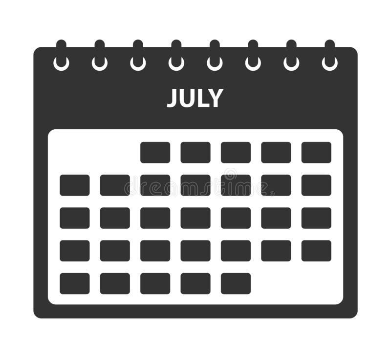 July Calendar Icon. Flat style vector EPS royalty free illustration