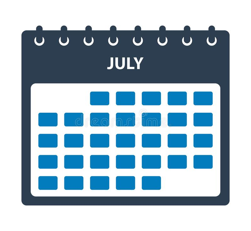 July Calendar Icon. Flat style vector EPS stock illustration