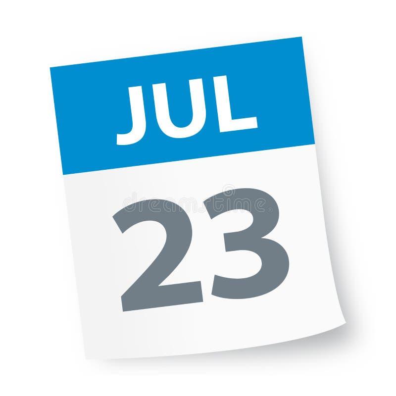 July 23 - Calendar Icon stock illustration