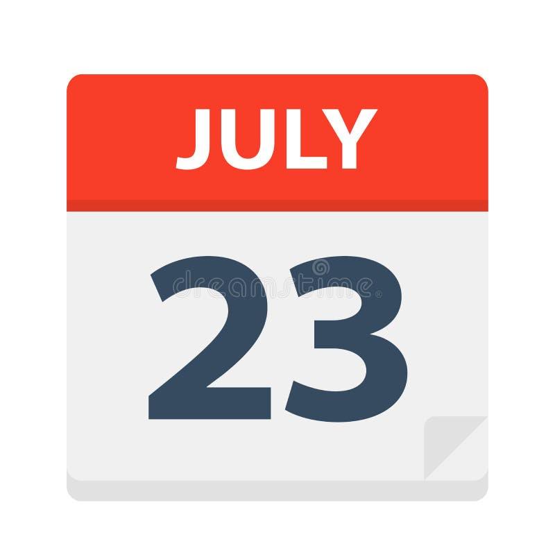 July 23 - Calendar Icon vector illustration