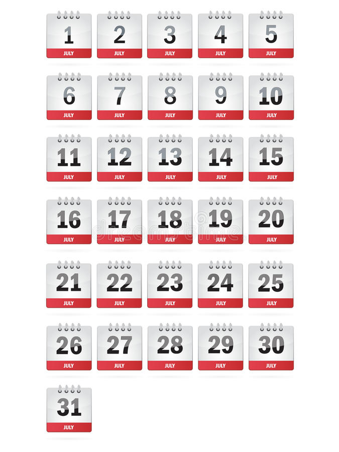 Download July Calendar Icons stock vector. Illustration of eps10 - 27069428