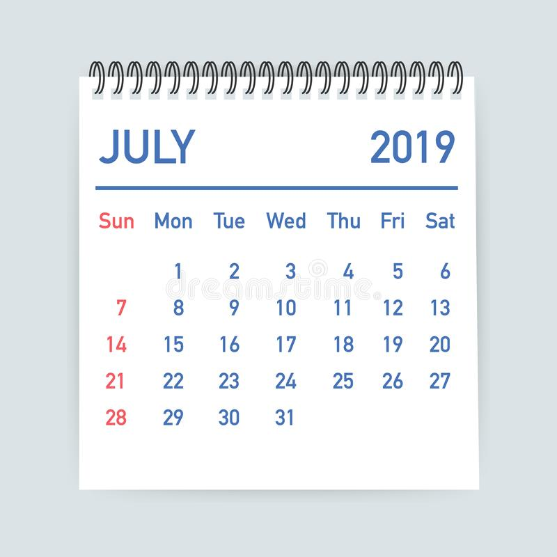 July 2019 Calendar Leaf. Calendar 2019 in flat style. A5 size. Vector illustration. vector illustration
