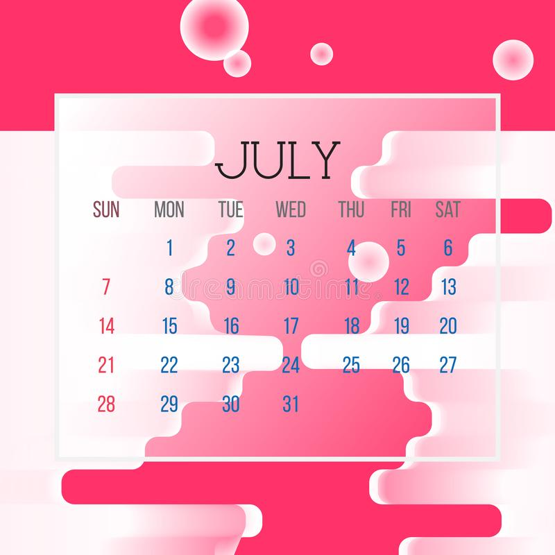 July 2019 Calendar Leaf - Illustration. Vector graphic page with abstract background pink color stock illustration