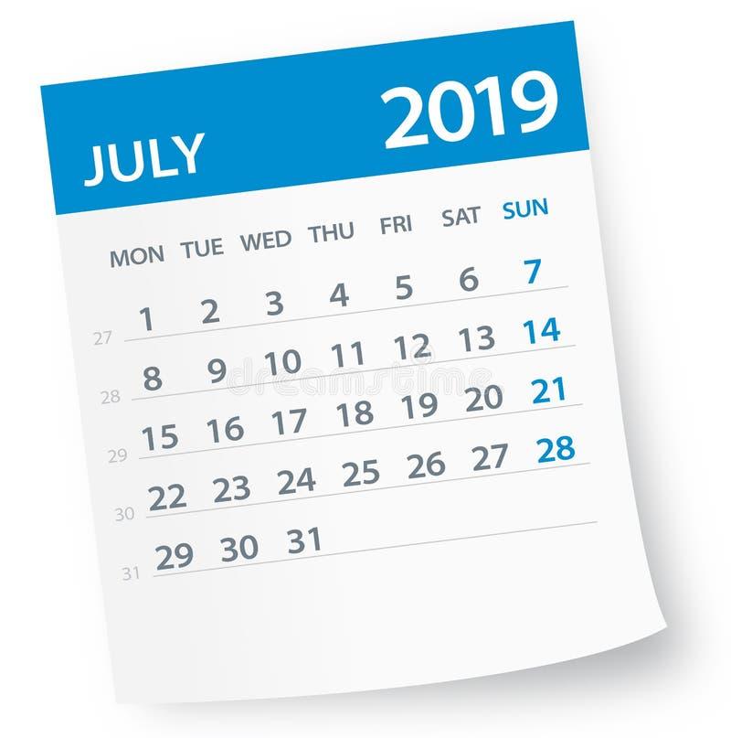 July 2019 Calendar Leaf - Vector Illustration. July 2019 Calendar Leaf - Illustration. Vector graphic page stock illustration