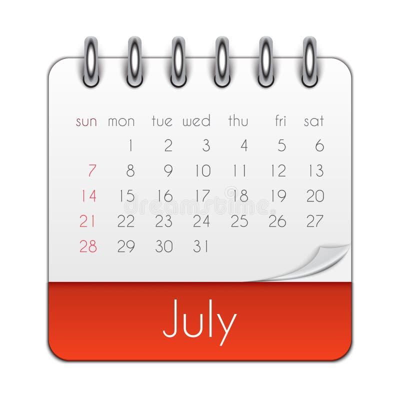 July 2019 Calendar Leaf Template Vector Illustration stock illustration