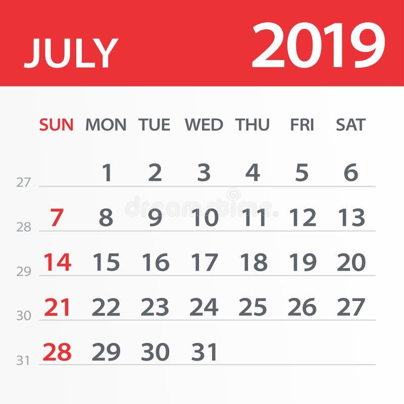 July 2019 Calendar Leaf - Vector Illustration royalty free illustration
