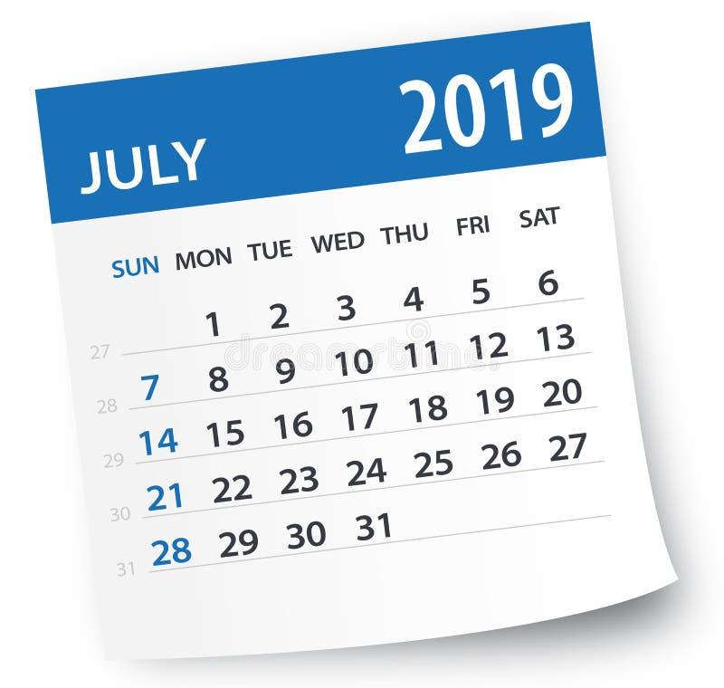 July 2019 Calendar Leaf - Vector Illustration stock illustration