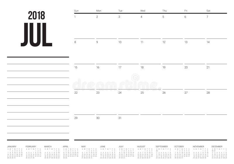 July 2018 calendar planner vector illustration. Simple and clean design vector illustration