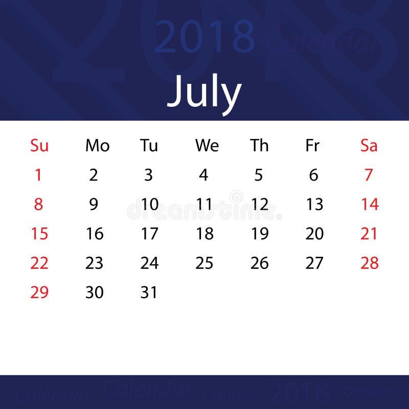 July 2018 calendar popular blue premium for business royalty free illustration