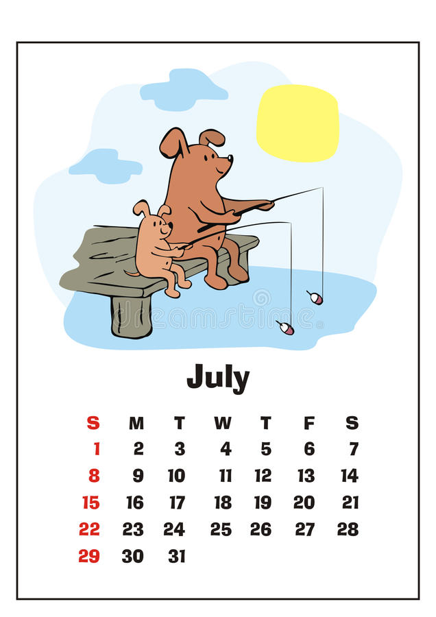 July 2018 calendar. Wall calendar for july, 2018 with funny dogs. Fun children`s illustration in cartoon style. Colorful vector background. Vertical orientation royalty free illustration