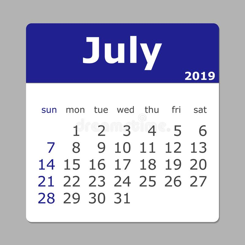 July 2019 calendar. Week starts sunday. Layers grouped for easy vector illustration
