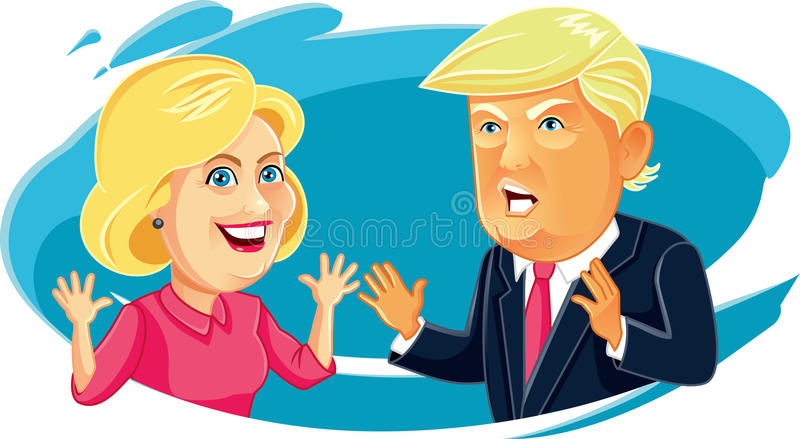 July 30, 2016 Caricature character illustration of Hillary Clinton and Donald Trump. Funny cartoon of Presidential Candidates royalty free illustration
