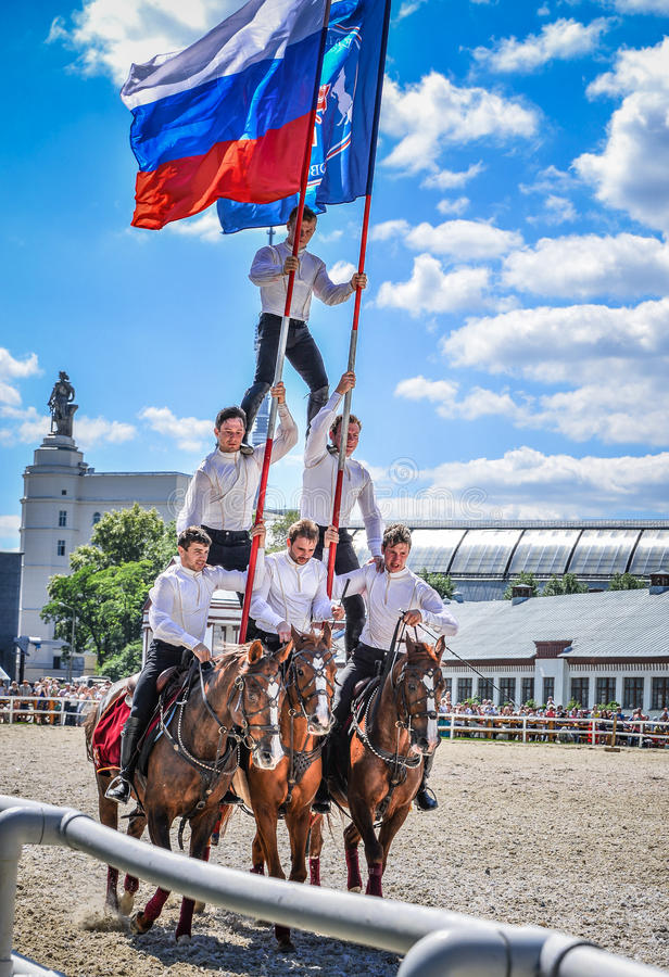 July 25, 2015. Ceremonial presentation of the Kremlin Riding School on VDNH in Moscow. royalty free stock photos