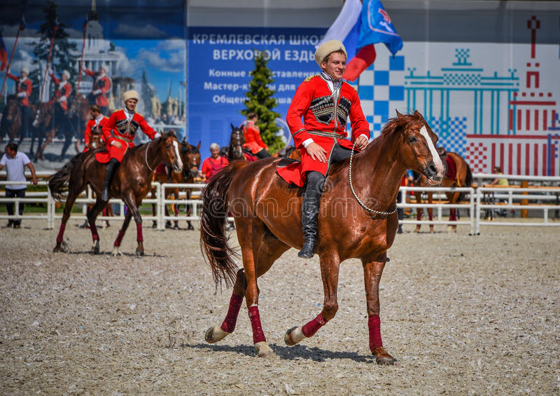 July 25, 2015. Ceremonial presentation of the Kremlin Riding School on VDNH in Moscow. stock image