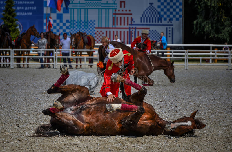 July 25, 2015. Ceremonial presentation of the Kremlin Riding School on VDNH in Moscow. royalty free stock photography