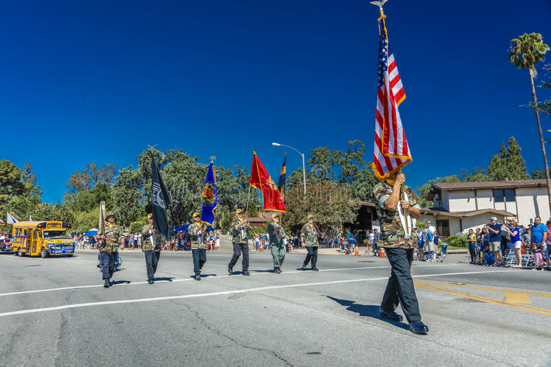 JULY 4, 2016 - Citizens of Ojai California celebrate Independence Day - honor guard of veterans starts parade royalty free stock photos