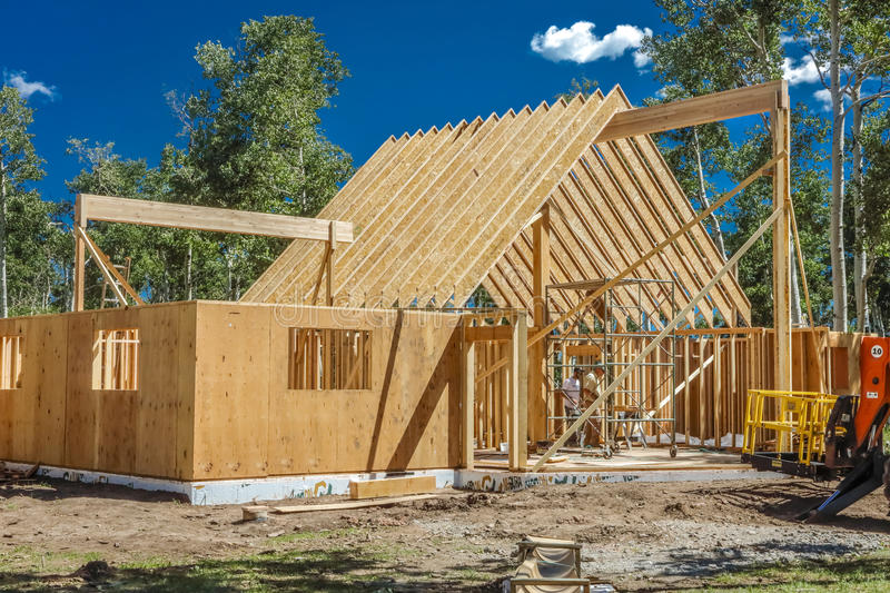 July 14, 2016 - Construction of a 'A' Frame House owned by photographer Joe Sohm, Ridgway, Colorado stock image