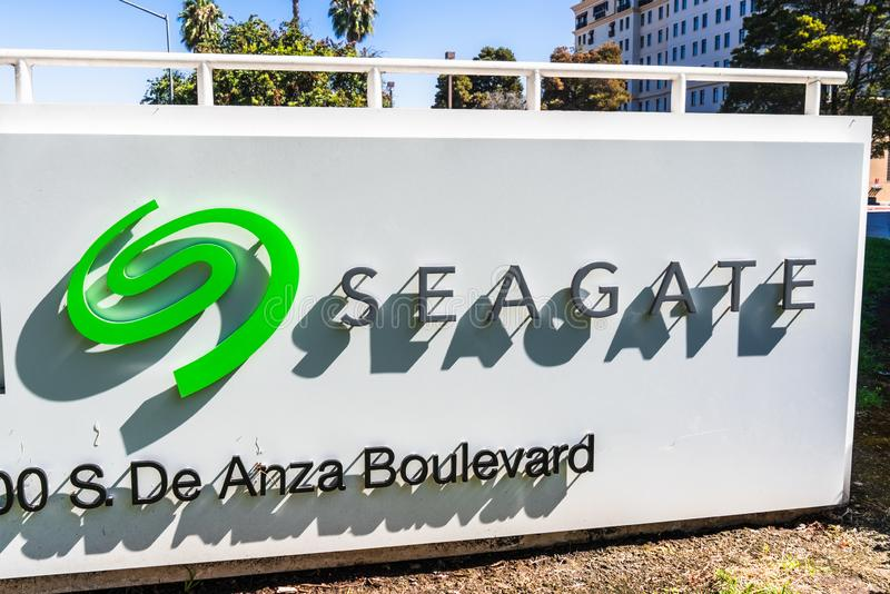 July 31, 2019 Cupertino / CA / USA - Seagate Technology PLC headquarters in Silicon Valley; Seagate is an American data storage. Company incorporated in Dublin royalty free stock photo
