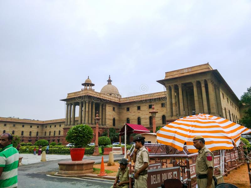 South block of cabinet secretariat of India. July 2017, Delhi, India - Police men outside the south block of cabinet secretariat of India . Delhi police ensuring stock images