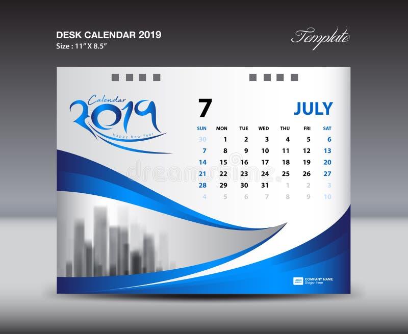 JULY Desk Calendar 2019 Template, Week starts Sunday, Stationery design, flyer design vector. Printing media creative idea design, blue background stock illustration