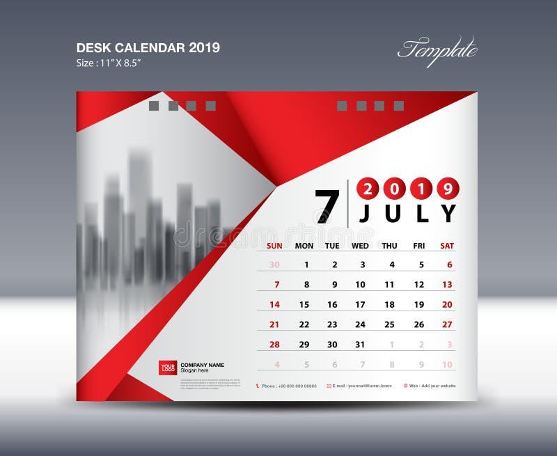 JULY Desk Calendar 2019 Template, Week starts Sunday, Stationery design, flyer design vector, printing media creative idea. Design, red polygonal background stock illustration