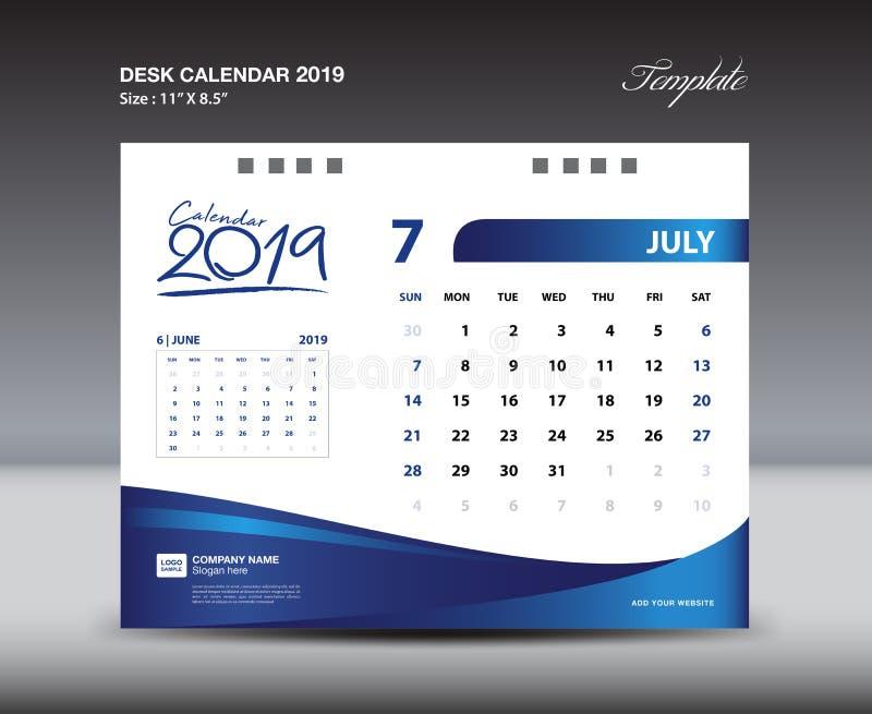 JULY Desk Calendar 2019 Template, Week starts Sunday, Stationery design, flyer design vector, printing media creative idea. Design, blue background stock illustration
