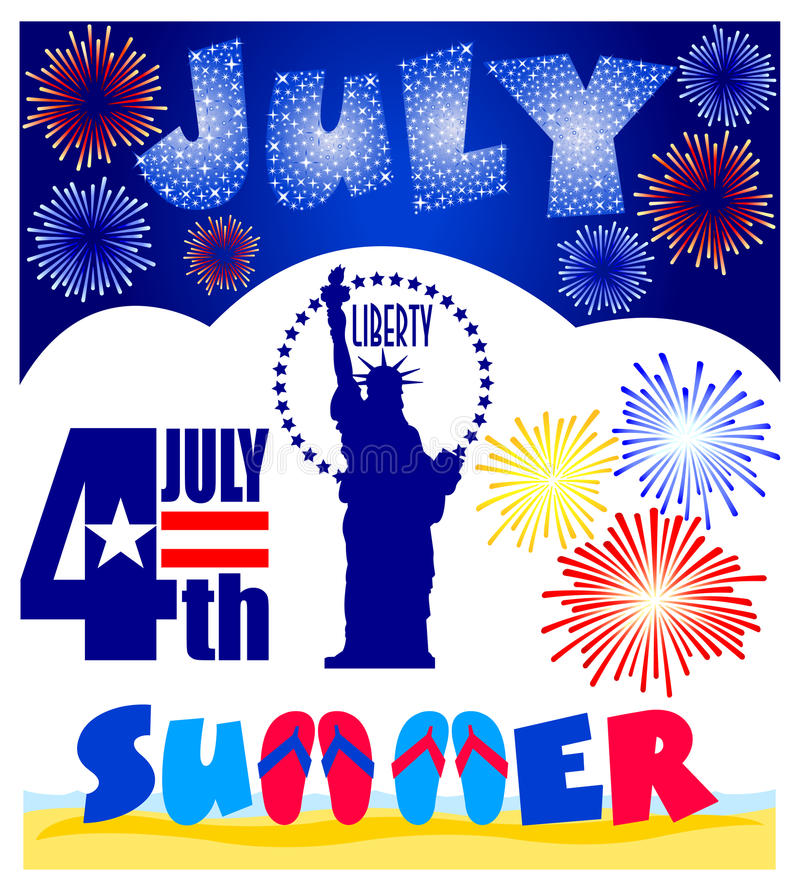 July Events Clip Art Set/eps. Illustrated clips for July events including Fourth of July, Statue of Liberty, fireworks and a headline for July vector illustration