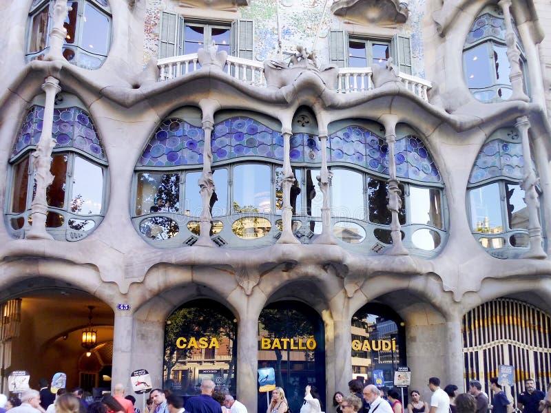 July 17, 2018. Facade of Casa Batallo designed by Antoni Gaudí. Barcelona, Catalonia. Spain. Europe royalty free stock photo
