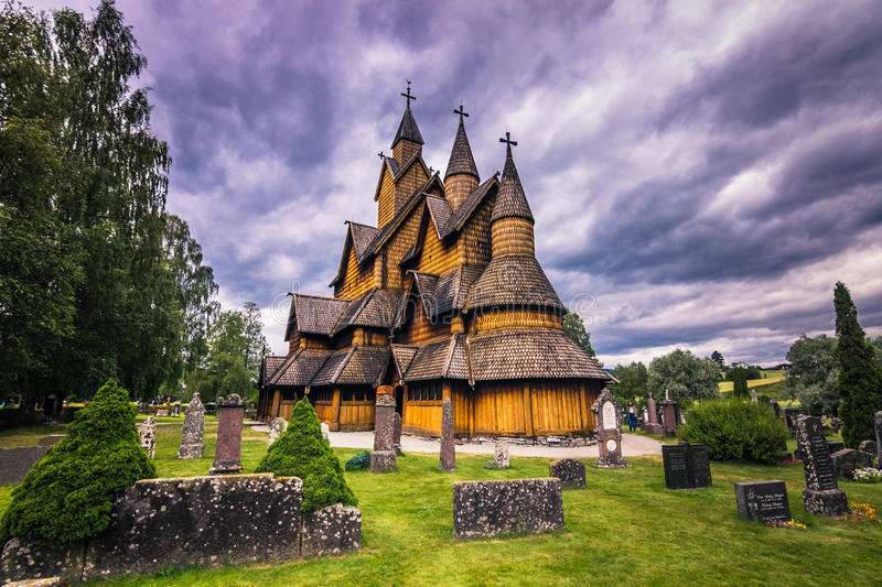 July 18, 2015: Facade of Heddal Stave Church in Telemark, Norway stock photos