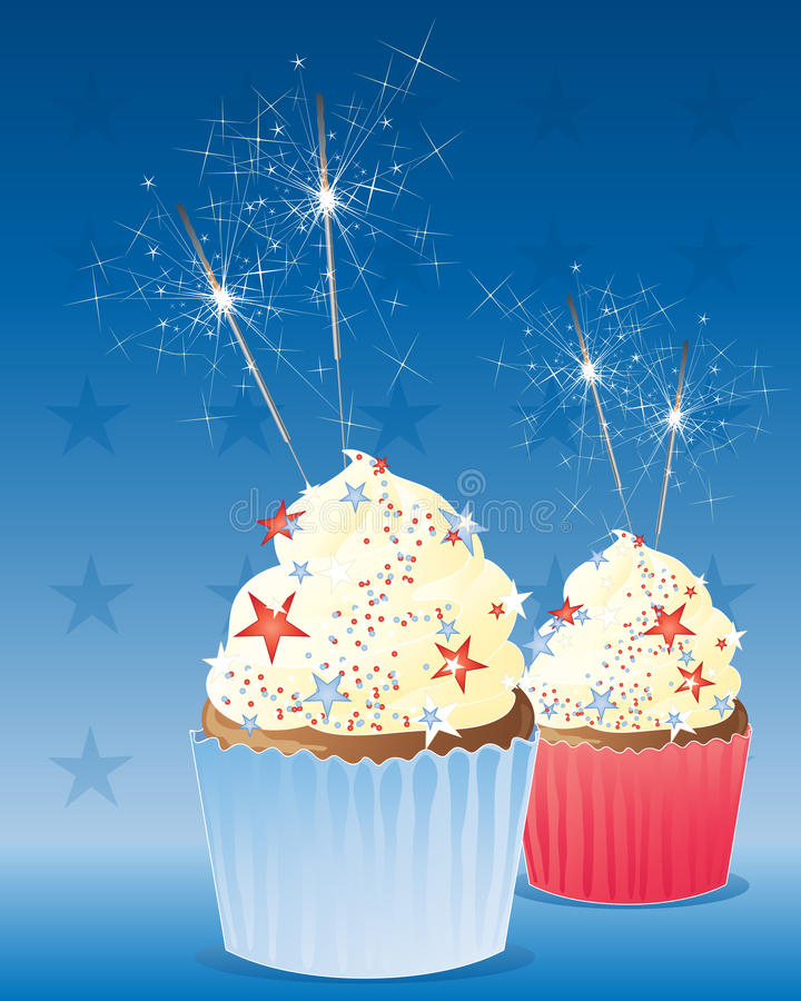 July fourth cup cake. An illustration of two delicious cup cakes decorated to celebrate the fourth of july american independence day with frosting and sparklers royalty free illustration