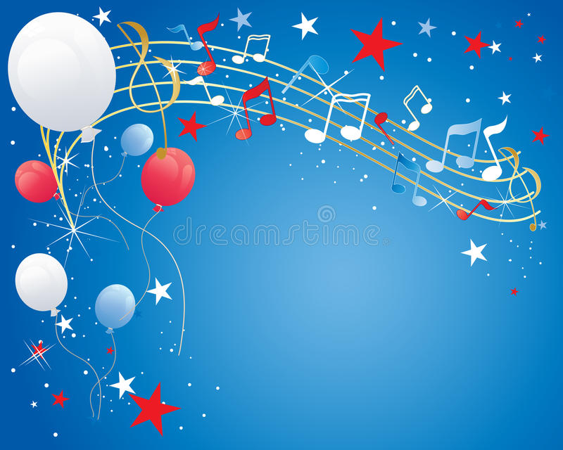 July fourth. An illustration of a july fourth celebration background with musical notes balloons sparkles and stars in red white and blue stock illustration