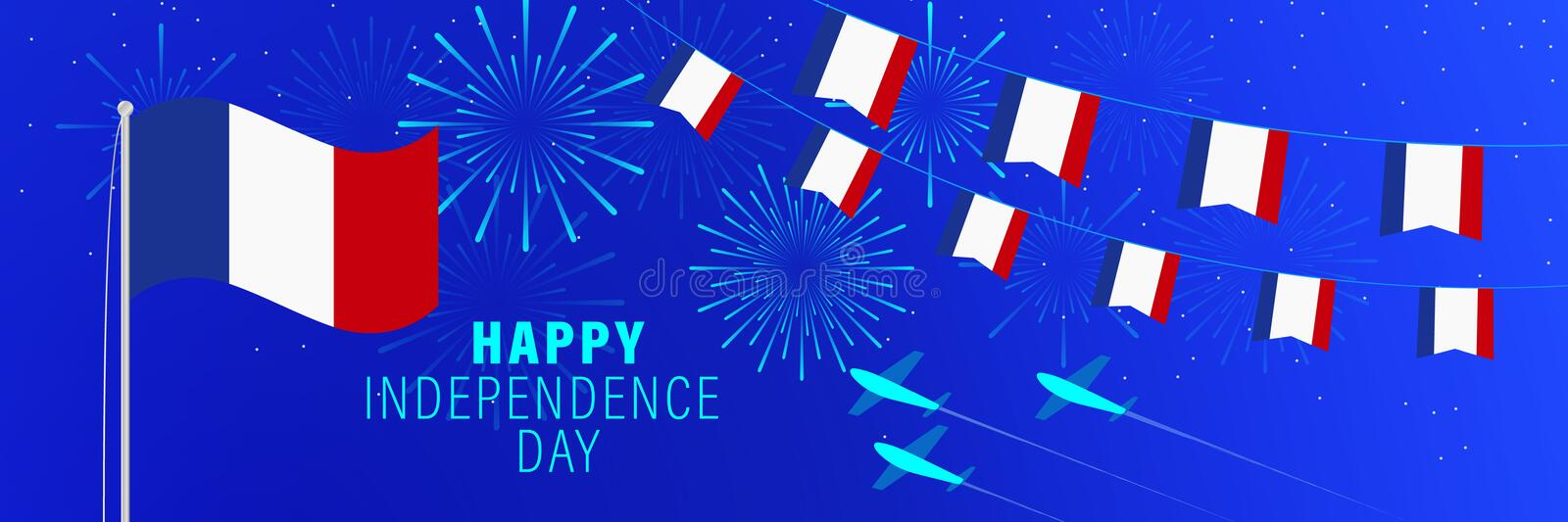 July 14 France Independence Day greeting card.  Celebration background with fireworks, flags, flagpole and text royalty free illustration