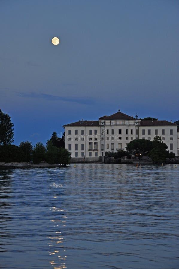 Isola Bella, Stresa full moon on Lago Maggiore, Italy royalty free stock image