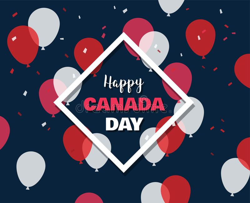 1 July. Happy Canada Day greeting card. Celebration banner with flying balloons in canadian flag colors. royalty free illustration