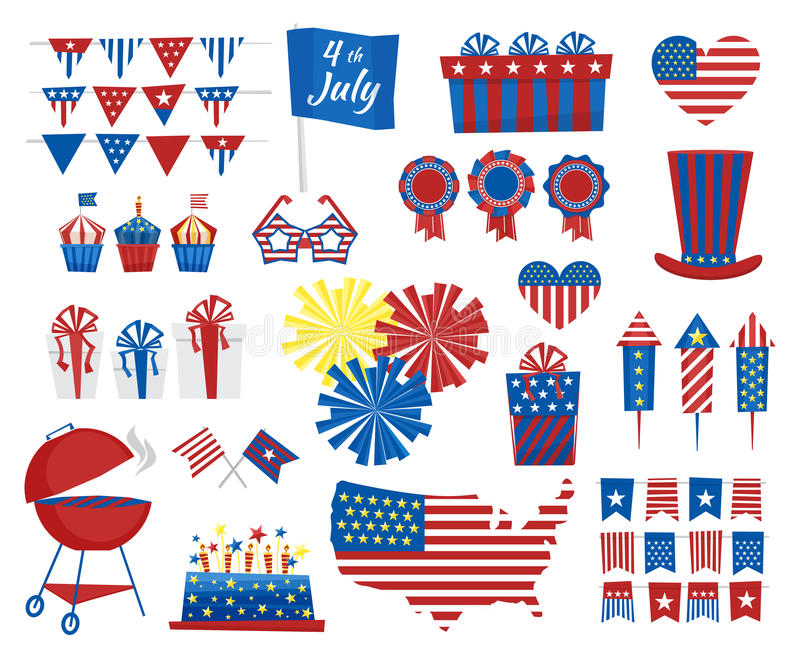 July 4 Icons Independence Day Of Usa Colors Vector