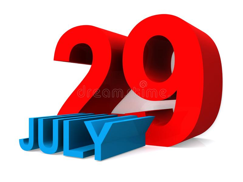 July 29. An illustration of the date July 29 vector illustration