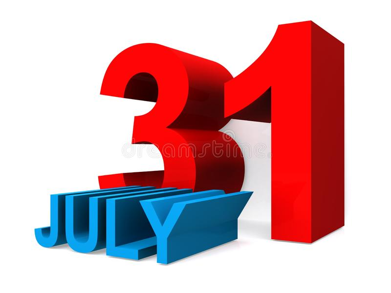 July 31. An illustration of the date July 31st vector illustration