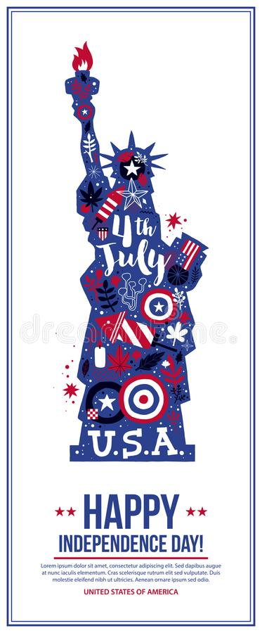 4 July Independence Day banner template with illustration of Statue of Liberty. Patriotic symbols and abstract elements. Modern hand drawn illustration style vector illustration