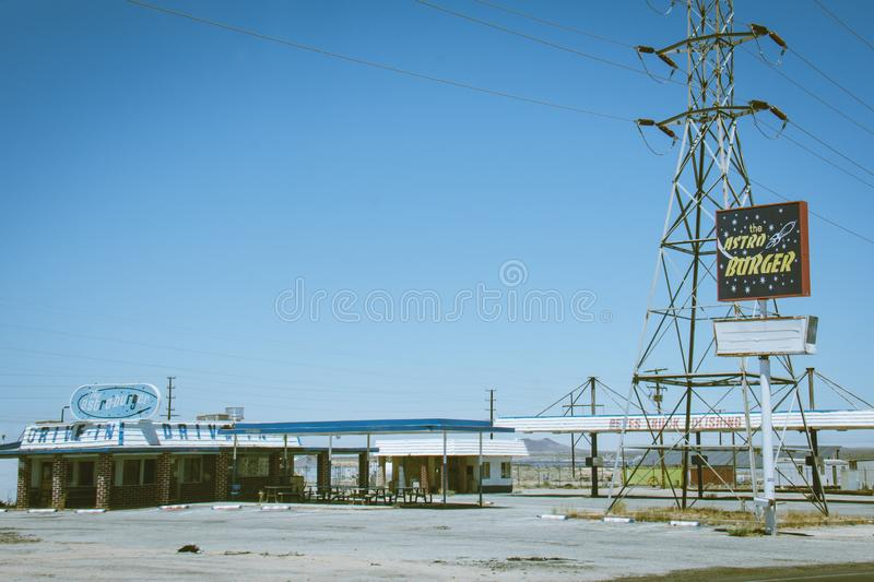 KRAMER JUNCTION, CALIFORNIA: View of the famous Astroburger diner restaurant in Southern California royalty free stock photo