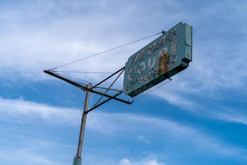 July 11 2018 - Las Vegas Nevada: Old rusted vintage motel sign for the Las Vegas Court motel royalty free stock photo