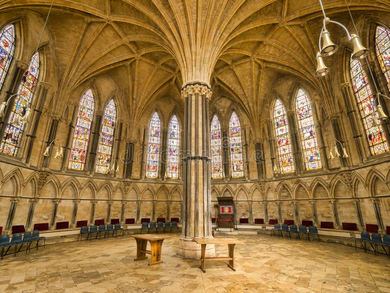 Chapter House, Lincoln Cathedral. 3 July 2019: Lincoln, Lincolnshire, UK - The 13th Century Chapter House of Lincoln Cathedral stock photos