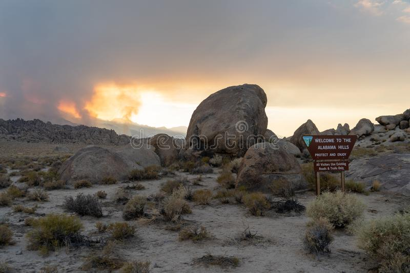 JULY 8 2018 - LONE PINE, CA: Sign for the Alabama Hills in the E stock photo