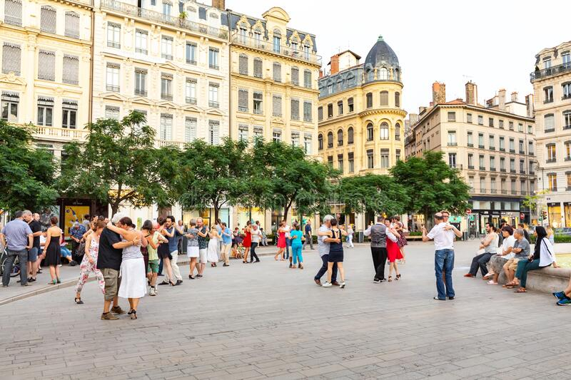 Open air public dance party at city square. 24 July 2019, Lyon, France: Open air public dance party at city square stock photo
