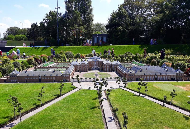 Madurodam. Garden from Royal palace `Het Loo` , Apeldoorn. 17-July 2018. Miniature attraction park Madurodam in The Hague, Netherlands, South Holland, Europe royalty free stock photography